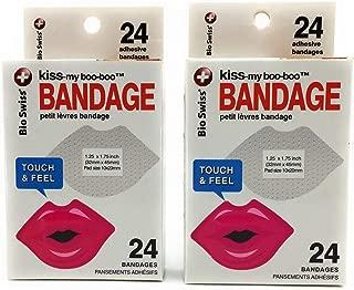 Kiss-My-Boo-Boo Lips Bio-Swiss Bandaids Bandages Bundle of 2 Packs Red -24 Each 48 Total