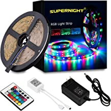 SUPERNIGHT LED Strip Lights - 5M/16.4 Ft SMD 3528 RGB 300 LED Color Changing Kit with Flexible Strip Light, 24 Key IR Remote Control, Power Supply