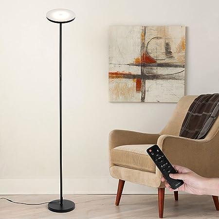 Albrillo 24W LED Lampadaire - Lampe Sur Pied Moderne avec Luminosité et Température de Couleur Réglables en Continu [3000K-6500K], Télécommande et Minuteur, Dimmable Lampadaire pour Salon Bureau, Noir