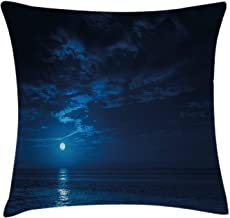 Night Sky Throw Pillow Cushion Cover by Lunarable, Deep Blue Moonlight Ocean Waves for Coastal Region Clouds Scenery Image, Decorative Square Accent Pillow Case, 18 X 18 Inches, Dark Blue and White