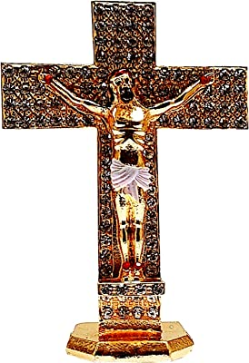 Purpledip Metal Crucifix (Jesus Christ on The Cross) with Glittering Gemstones: for Home, Altar or Car (11743)