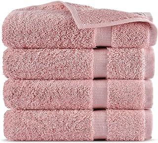 Indulge Linen 100% Turkish Cotton Towel Set (Pink, Washcloths - Set of 4)