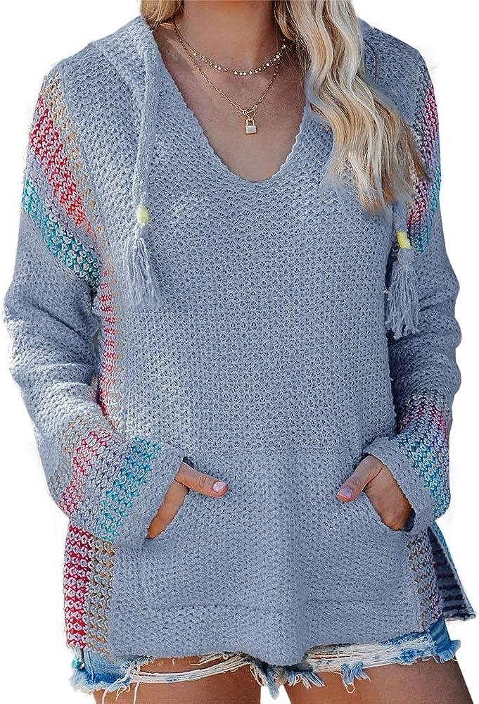 FERBIA Women Boho Sweater Finally popular brand Hooded Colorblock Hoodie Max 48% OFF Pullover Baja