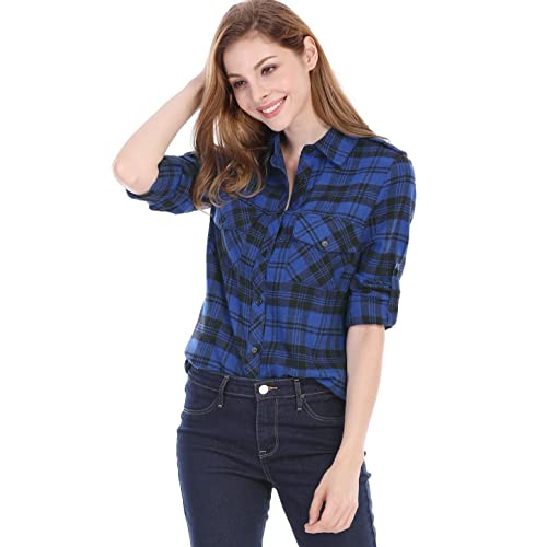 5a6aa46534c9 Allegra K Women's Check Roll up Sleeves Flap Pockets Brushed Shirt