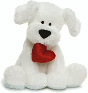 "GUND Valentine's Day Romeo Dog Holding Heart Plush Stuffed Animal, 10"" , White (4061387)"