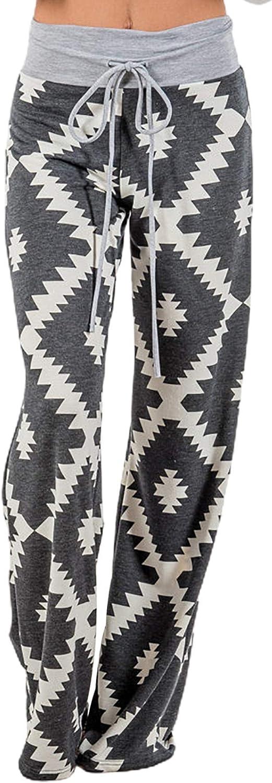 X-Image Women's Comfy Casual Lounge Pants Floral Print Drawstring Palazzo Wide Leg Pajama Pants