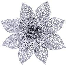 Supla 24 Pcs Christmas Silver Glitter Poinsettia Flowers Picks Christmas Tree Ornaments 5.9
