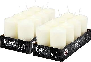 Hofer bougies cylindriques, longue durée (12 heures), lot de 16 bougies 4,5 x 9 cm, blanc, cire anti-goutte, non parfumée...