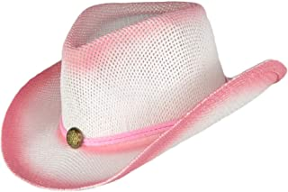 Kids Rodeo Ombre Cowboy Hat with Drawstring, Dress Up Straw Cowgirl Hats for Girls