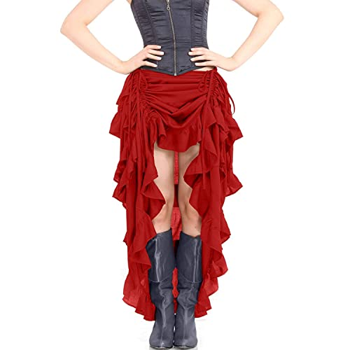 d427c70024 ThePirateDressing Steampunk Victorian Cosplay Costume Womens High-Low Show Girl  Skirt C1367