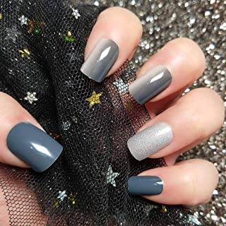 Sethexy 24Pcs Glossy Square False Nails Steelbule Gradient Glitter Silver Full Cover Art Fake Nails Tips for Women and Girls