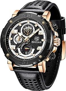 BENYAR Reloj para Hombre Movimiento de Cuarzo Correa de Cuero Impermeable 30M Cronógrafo Reloj Multifuncional para Hombres...