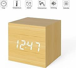 MiCar Digital Alarm Clock, Wood LED Light Mini Modern Cube Desk Alarm Clock Displays Time Date Temperature for Kids, Bedrooms, Home, Dormitory, Travel
