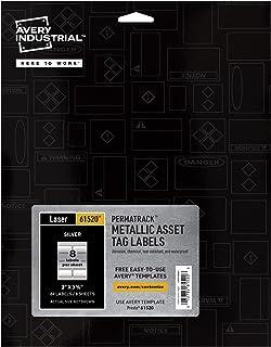 """ملصقات Avery PermaTrack المعدنية لطابعات الليزر، 3-3/4"""" x 2""""، 64 ملصق (61520)"""
