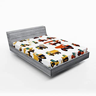 Ambesonne Construction Fitted Sheet, Construction Machinery and Equipment Transportation Careers...