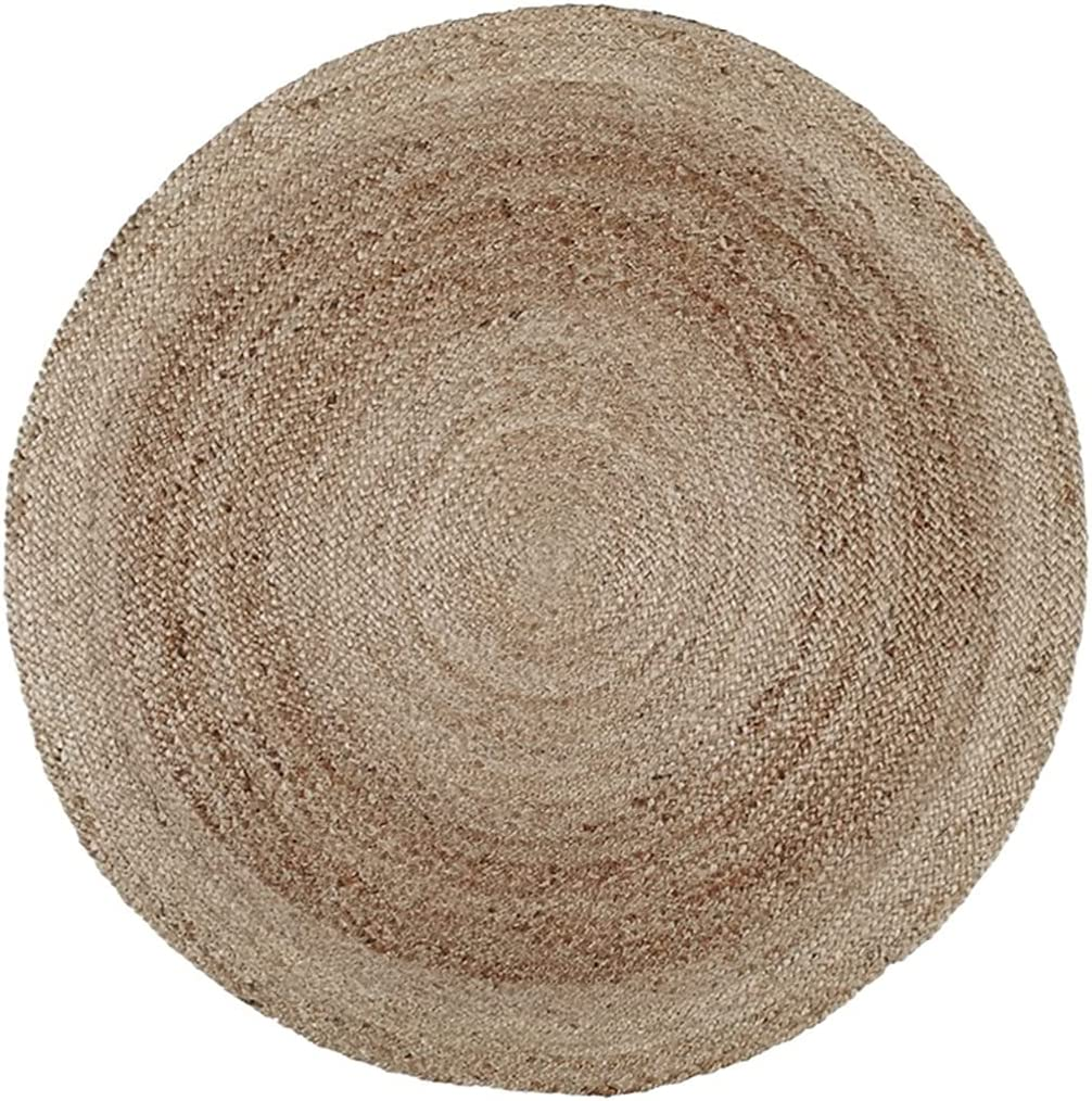 Round Rug Natural Jute Hand-Woven Farm New mail order Living Fees free Room Di Style