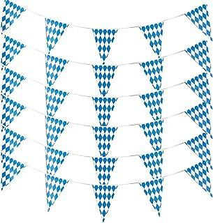 Alpurple 197 Feet Oktoberfest Bavarian Flag- 6 Packs Oktoberfest Bavarian Pennant Banner for German Oktoberfest Themed Par...