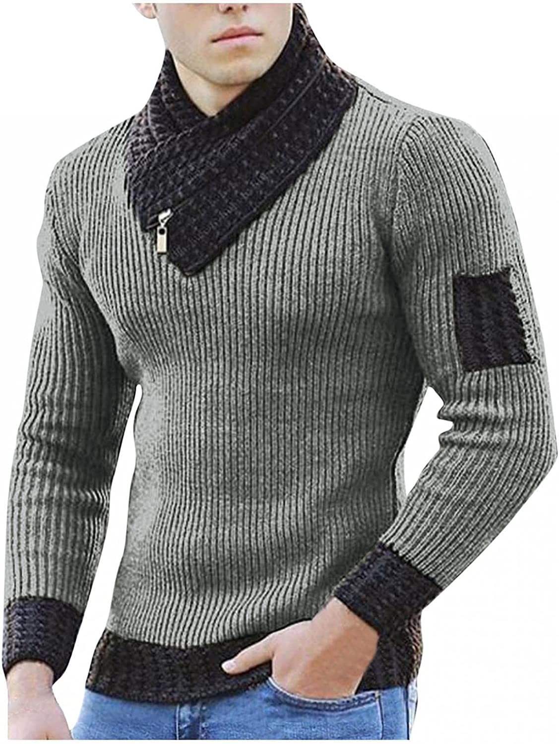 Men Collar Pullover Sweater Long Sleeve Slim Fit Casual Knit Sweaters Solid Color Scarf High Neck Sweatshirt