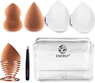 ENERGY 8 Pcs Makeup Sponge Blender Beauty Sponges Foundation Blending Sponge Set with Blender Cases, Sponge holder,Eyebrow Clip for Liquid Foundation, Powders,Concealer, BB Cream