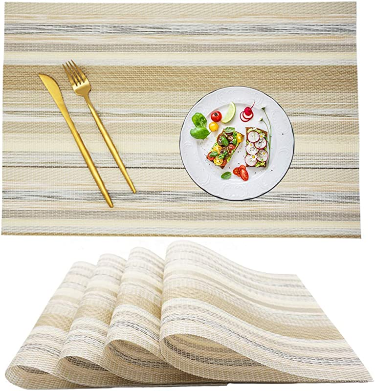 SUNANASKY Placemats Heat Resistant Placemats Stain Resistant Anti Skid Washable PVC Table Mats Woven Vinyl Dining Kitchen Placemats Set Of 4 Yellow Stripe