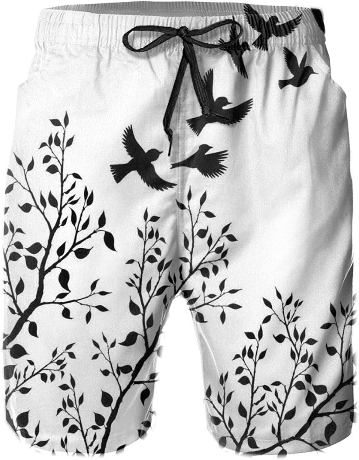 Flock of Birds Flying Away from A Tree with Leafy Branches Black Silhouettes Swimming Trunks for Men Beach Shorts Casual Style,L