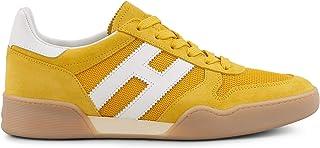 e87a94bf3 Hogan H357 Scarpe da Uomo HXM3570AC40KFE01AK Sneakers Running Sportive  Ginnastica in Pelle Giallo Gialle Bianche Nero