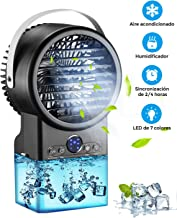 Mini aire acondicionado portátil, Enfriador de Aire en Mesa Silencioso, humidificador, ventilador con tanque de agua, función de temporizador, 3 velocidades, LED, para casa, oficina VERSIÓN 2020