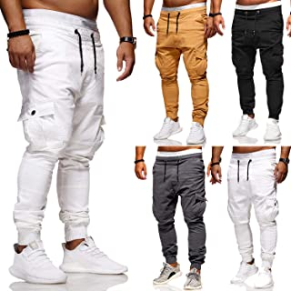 82948058720 Men's Spring Casual Retro Cargo Trouser Slim Fit Solid Colour Workwear Long  Jogger Pants with Multi