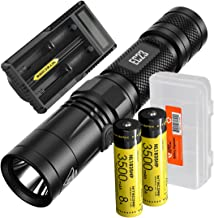 Nitecore EC23 1800 Lumens High Performance LED Flashlight, 2X 3500mAh Rechargeable Batteries, UM20 Digital Smart Charger and Lumen Tactical Battery Organizer