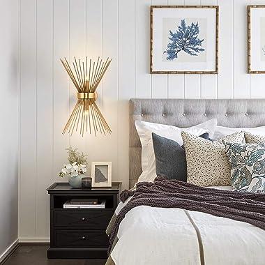 Henveton Brass Mid Century Wall Sconce Modern Gold Vanity Light Wall Mount Lamp Industiral Indoor Lighting Fixture for Bathro