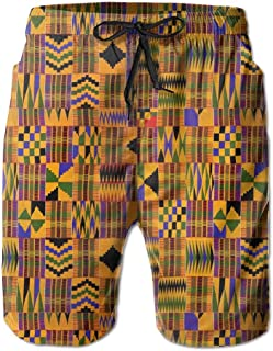 Mens African Art Lattice Quick-Dry Beach Shorts Swim Volley Trunks