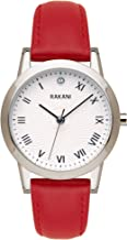 Rakani Running Behind 32mm Lotus Watch with Red Leather Band