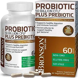 Bronson Probiotic 50 Billion CFU + Prebiotic with Apple Polyphenols & Pineapple Fruit Extract for Women & Men Non-GMO, 60 ...