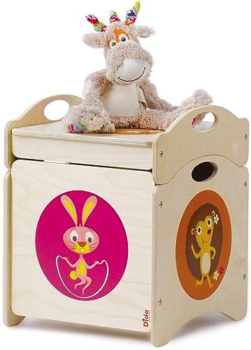 muchas sorpresas DIDA - Baúl de Juguetes - - - LOS Troncotti - Pouf contenedor en Madera - cúbico Base con 4 Ruedas + Tapa, Decorado con Conejos, Ciervos y erizos  bajo precio