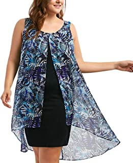 de7715af42e Gyouanime Plus Size Dress Womens Chiffon Printed Insert Layered High Low Sleeveless  Dress