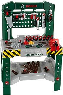 Theo Klein 8574 Banco de trabajo de 77 piezas Bosch, Con destornillador, llave inglesa, alicates, martillo y mucho más, Superficie de trabajo con función de aprendizaje, Medidas: 57 cm x 35 cm x 86 cm