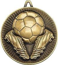 Lapal Dimension Voetbal Deluxe Medal - Antiek Goud 6,0 cm Pack van 10