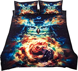 Wifehelper Bedding Set Psychedelic Owl Duvet Cover Moon Galaxy Bed Set for Adults 3pcs/Set (UK Double)