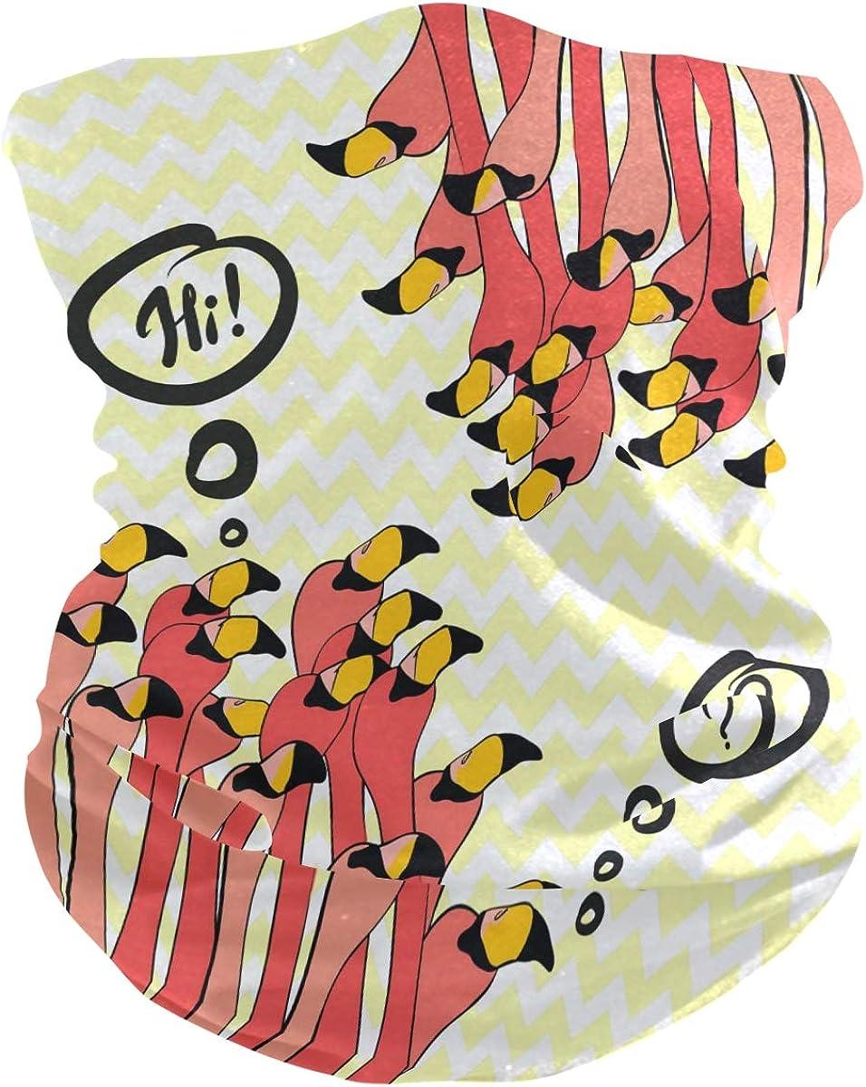 Bandana Face Scarf Neck Gaiter Cartoon Flamingos Headwear Headband for Cycling Fishing Hiking Camping