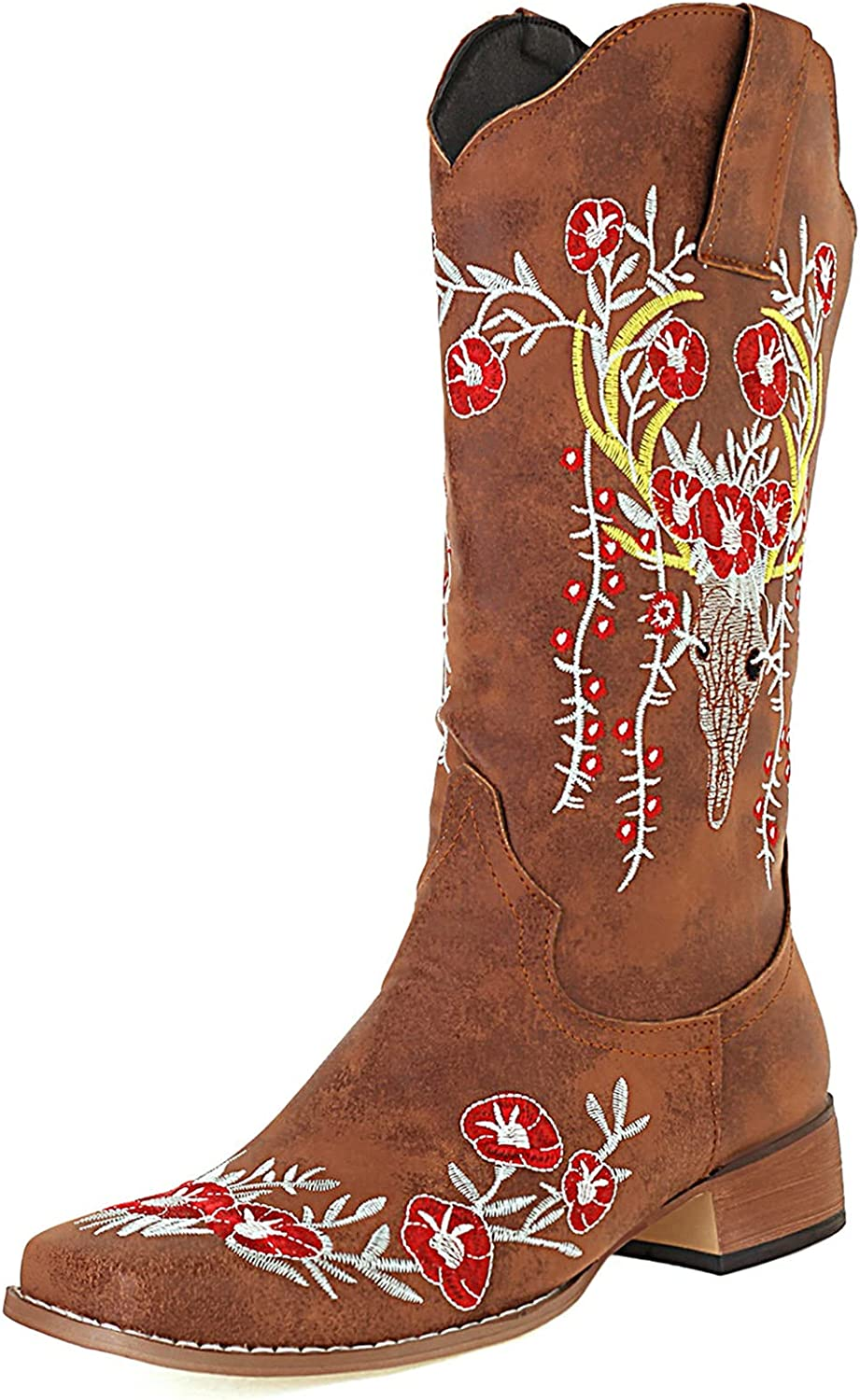 SaraIris Women's Western Boot Cowgirl Chunky High Heel Cowboy Boot Vintage Leopard Knee High Boots Pointed Toe Slip On Boots