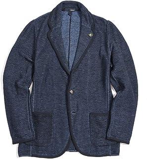 [ラルディーニ] ニットジャケット 2Bシングル ノッチドラペル パイピング メンズ 春夏 コットン 100% 無地 ネイビー 紺 イタリア ブランド ブートニエール付き XSサイズ