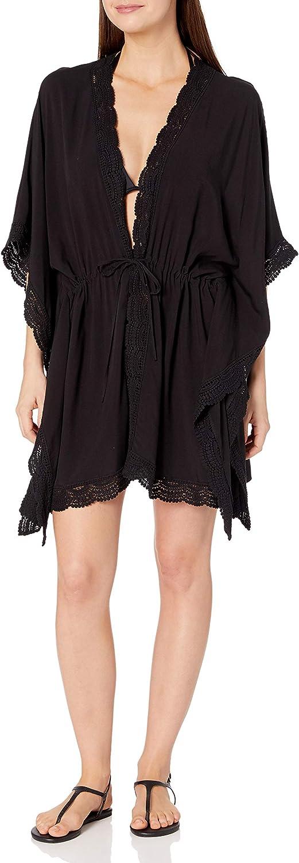 La Blanca Women's Standard Crochet Trim Kimono Swimsuit Cover Up