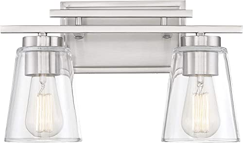 """popular Savoy House 8-1020-2-SN new arrival Calhoun 2-Light Bathroom Vanity Light in a Satin Nickel Finish with Clear Glass sale (15"""" W x 9"""" H) online sale"""