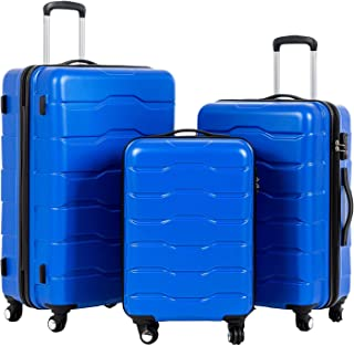 3 Pieces ABS Luggage Sets TSA Lock Lightweight Durable 210D Lining Trolley Cases Spinner Suitcase 20