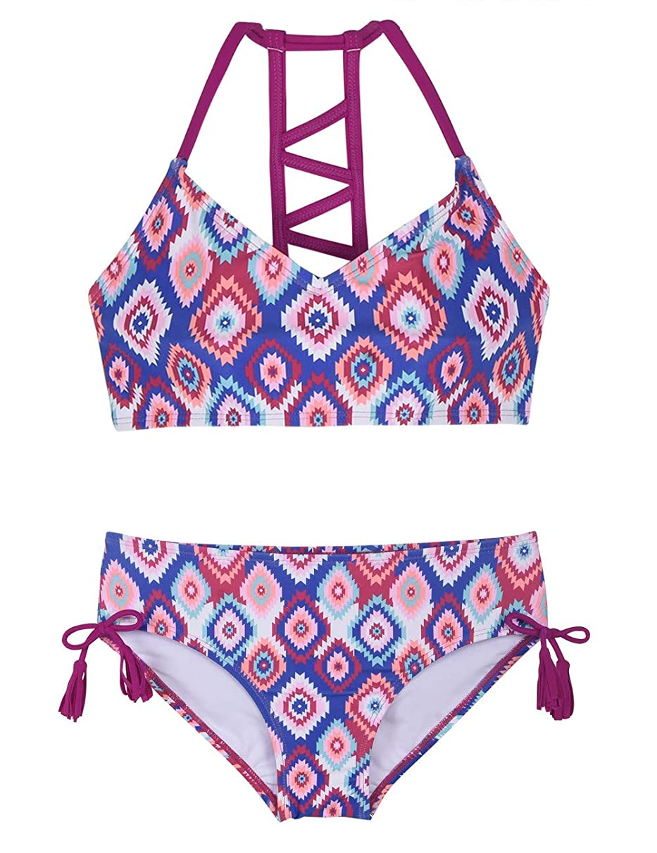 Firpearl Girls Swimsuits Halter Bikini Two Piece Bathing Suit Kids Bikini