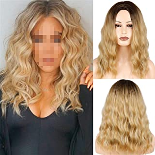 Hairpieces Women's Fashion Medium Long Wavy Blond Wig Ombre Blond Brown Synthetic Heat-resistant Fiber Wig for Women Hair ...
