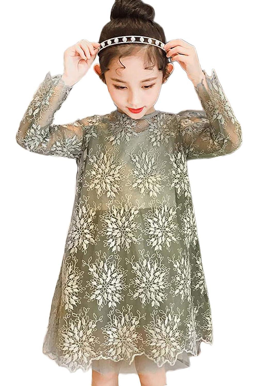 [ジンニュウ]子供 ワンピース 長袖 フォーマルワンピース チュニック 女の子 ドレス 入学式 発表会 卒業式 結婚式 長袖ドレス フレアワンピ レース 120-160cm