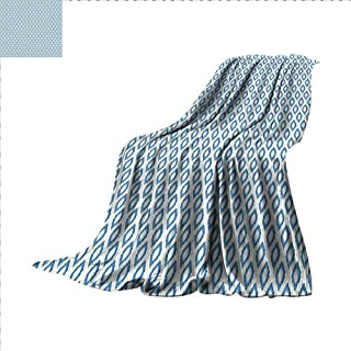 Hariiuet Ikat Throw Blanket Nautical Inspired Abstract Geometrical Shapes Rhombus Lines Squares Pattern Warm Microfiber All Season Blanket for Bed or Couch 90