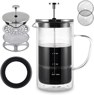 VEVOK CHEF French Press Coffee Maker Tea Maker Stainless Steel Coffee Press 34 Ounce Double Wall Insulate Heat Resistant Boro