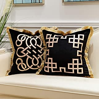 Avigers Pack of 2 Luxury Black Decorative Pillows with Tassels 18 x 18 Inches Square Chain Velvet Throw Pillow Covers Cush...